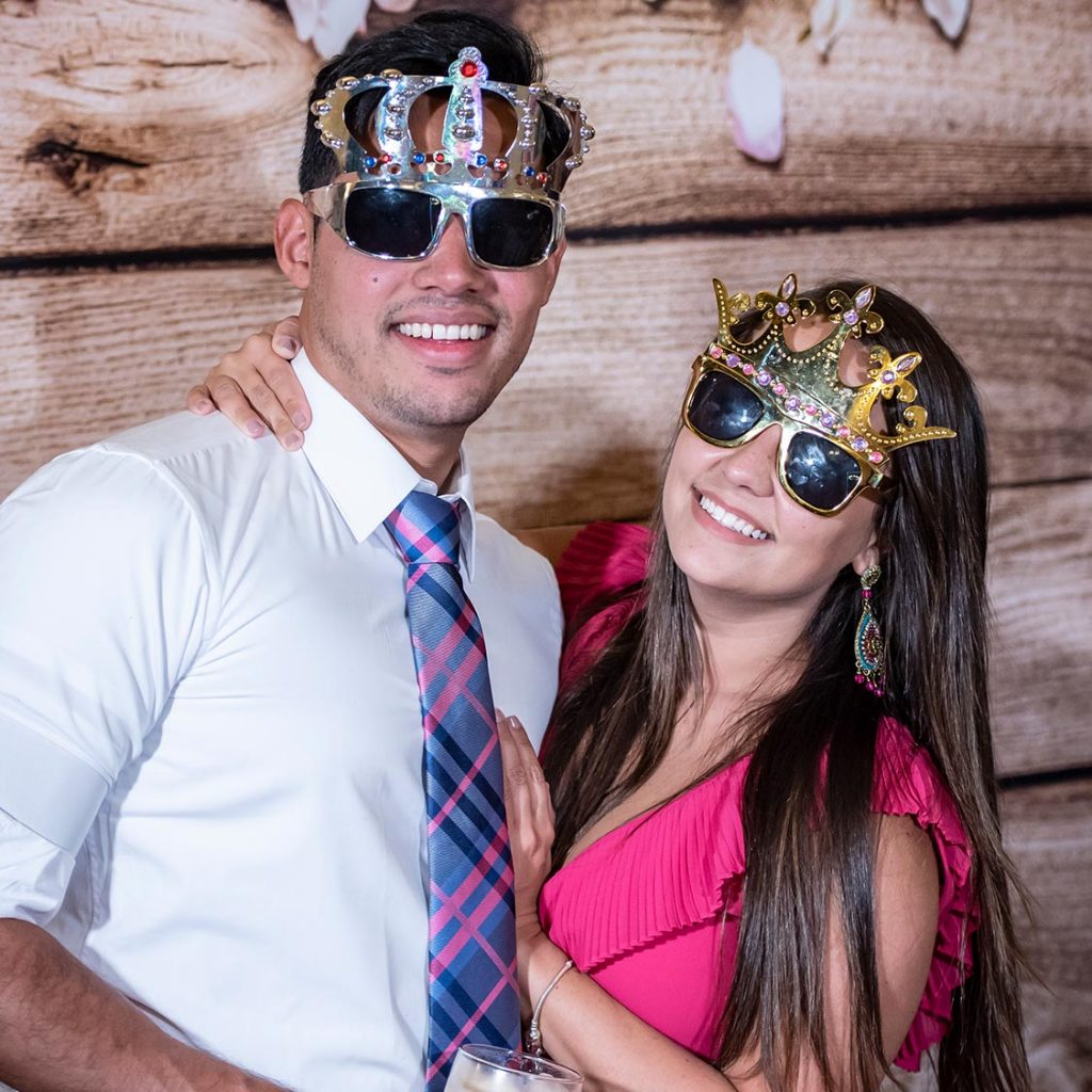 Bride and groom photo booth props